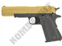 GG107 BB Gun Colt Replica M1911 Railed Gas Airsoft Pistol 2 Tone Gold Black